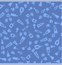 Glass cosmetic bottles seamless pattern vector