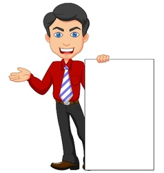 Office worker cartoon with blank sign vector
