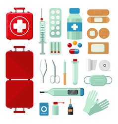 First aid kit set with medical equipment flat vector
