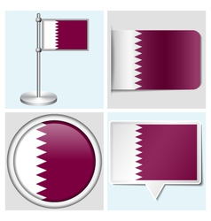 Qatar flag - sticker button label flagstaff vector