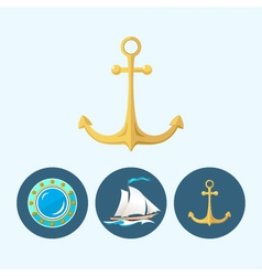 Set icons with sailing vessel anchor  porthole vector