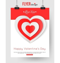 Valentines Day brochure template with paper hearts vector image