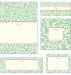 green ivy frame set vector