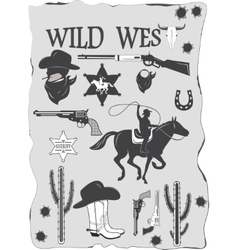 Set of wild west cowboy designed elements vector