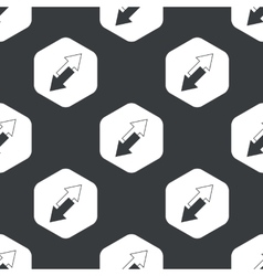 Black hexagon opposite arrows pattern vector