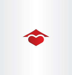 Home sweet home logo heart and house roof icon vector