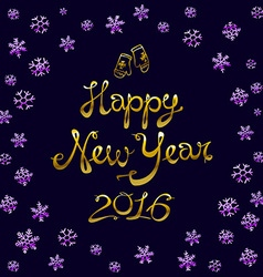 Vintage happy new year gold Typographic 2016 vector image