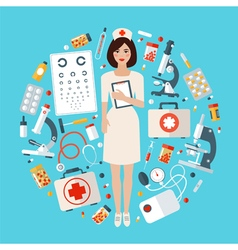 Nurse with medical icons set health care stuff vector
