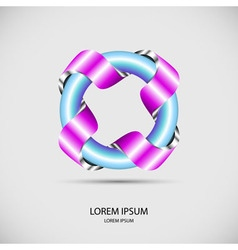 Logo banner of metal ribbon around iron circle pip vector image