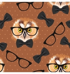 Owl with glasses seamless vector