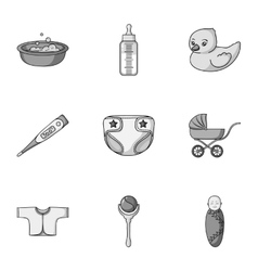 Baby born set icons in monochrome style Big vector image