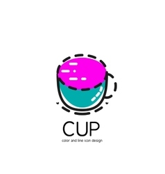 Color line icon for flat design Cup vector image