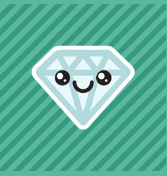 Cute kawaii smiling diamond cartoon icon vector