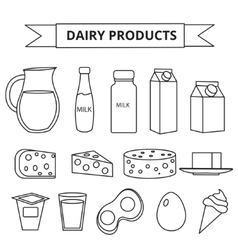 Dairy products icon set Modern line outline vector image vector image