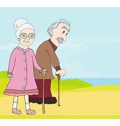 Elderly couple vector
