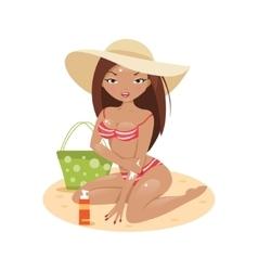 Girl in a bikini on the beach vector image
