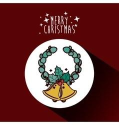 Gold bell and wreath of Merry Christmas design vector image