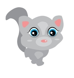 Gray cute baby cat with big eyes pink ears cute vector