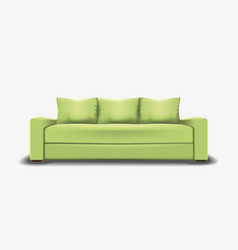 Green sofa on white background vector