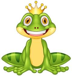 Happy cartoon king frog vector image