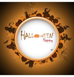 Happy Halloween with devildom in fog vector image