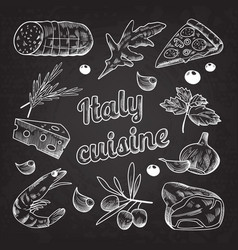 Italian food hand drawn doodle on blackboard vector