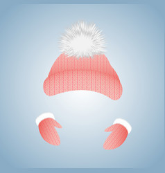 knitted hat with pompon and gloves with fur vector image vector image