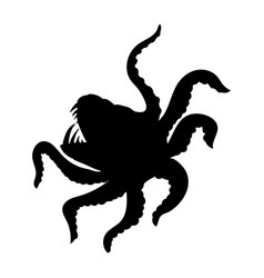 kraken giant octopus silhouette ancient mythology vector image