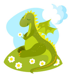 little romantic dragon vector image