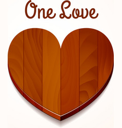 one love wood heart vector image vector image