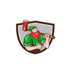 Paul bunyan lumberjack axe thumbs up crest cartoon vector