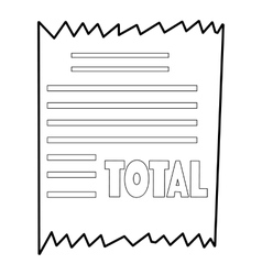 Receipt icon outline style vector