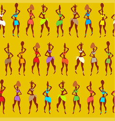 seamless pattern multicolored woman yellow vector image