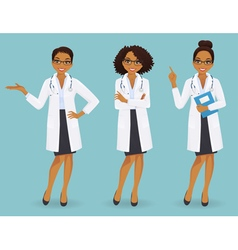 Set of three female doctors vector image
