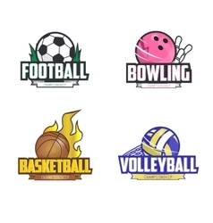 Sport logo set for four sport disciplines vector image