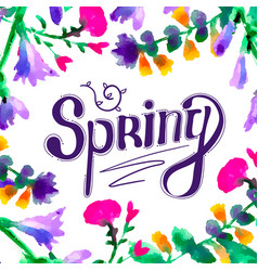 spring hand drawn lettering vector image