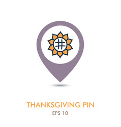 Sunflower mapping pin icon harvest thanksgiving vector