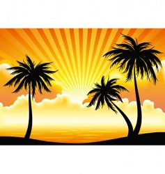 sunset coastline vector image vector image