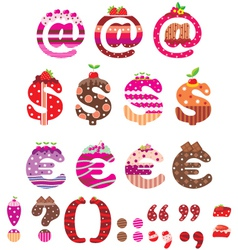 Sweet punctuation marks dollar sign and euro vector image