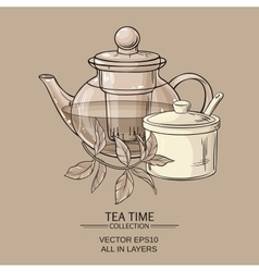 Teapot sugar bowl and tea leaves vector