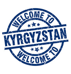welcome to kyrgyzstan blue stamp vector image