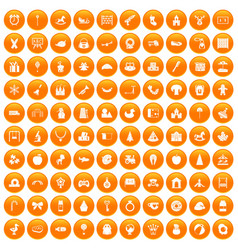 100 nursery school icons set orange vector