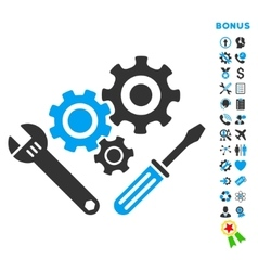 Mechanics tools flat icon with bonus vector