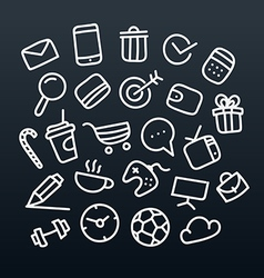 Abstract hand-drawn doodle icons set design vector
