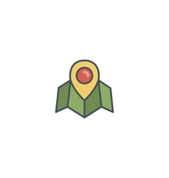 Flat location icon icon with map pin vintage vector