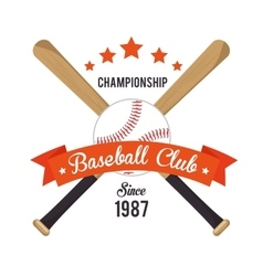 poster baseball crossed bats and ball stars vector image