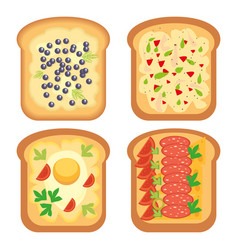 Toast bread meal snack lunch sandwich vector