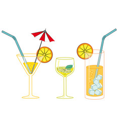 Glasses with drinks and cocktails vector