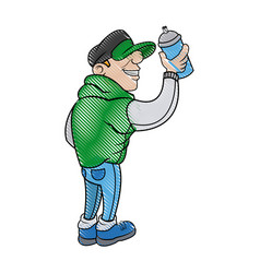 cartoon young guy graffiti with green jacket and vector image