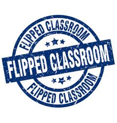 Flipped classroom blue round grunge stamp vector